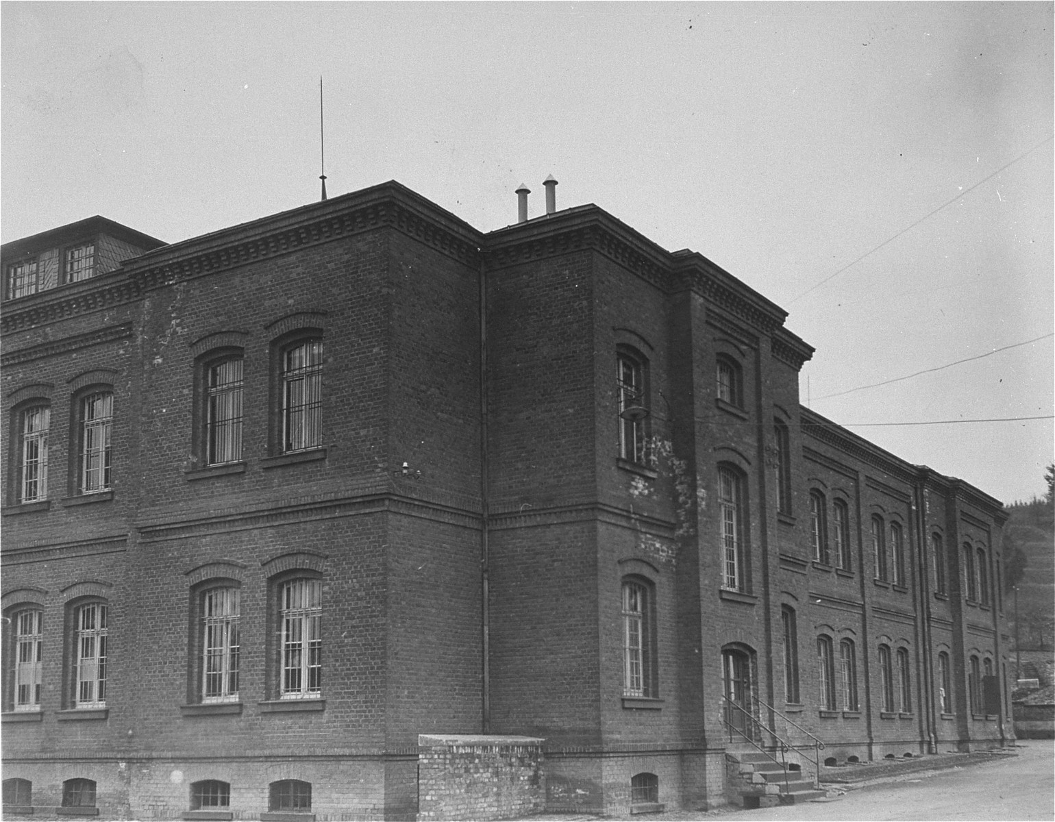 Exterior view of the main building of the Hadamar Institute.   The photograph was taken by an American military photographer soon after the liberation.