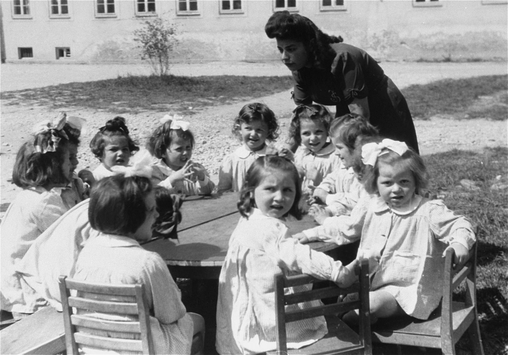 A nursery school at Bindermichl DP camp.