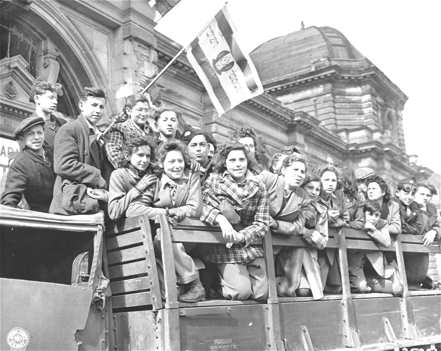 Jewish children arrive in Frankfurt by truck from DP camps all over the American Zone of Germany.    In Frankfurt, they joined children from the British Zone of Germany to travel to Marseilles and board a ship bound for Palestine.