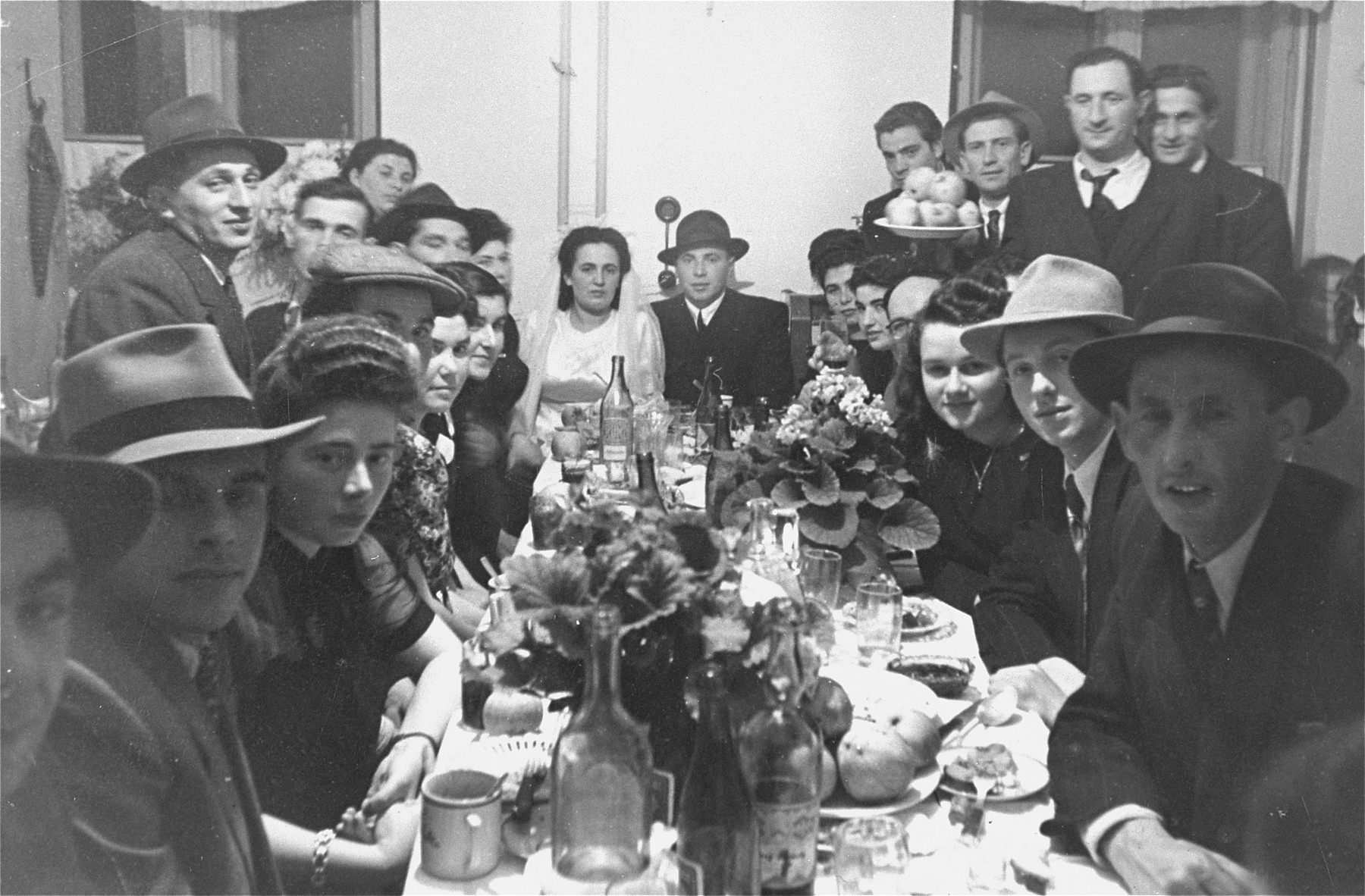 A Jewish wedding celebration in the Ebelsberg DP camp in Linz, Austria.