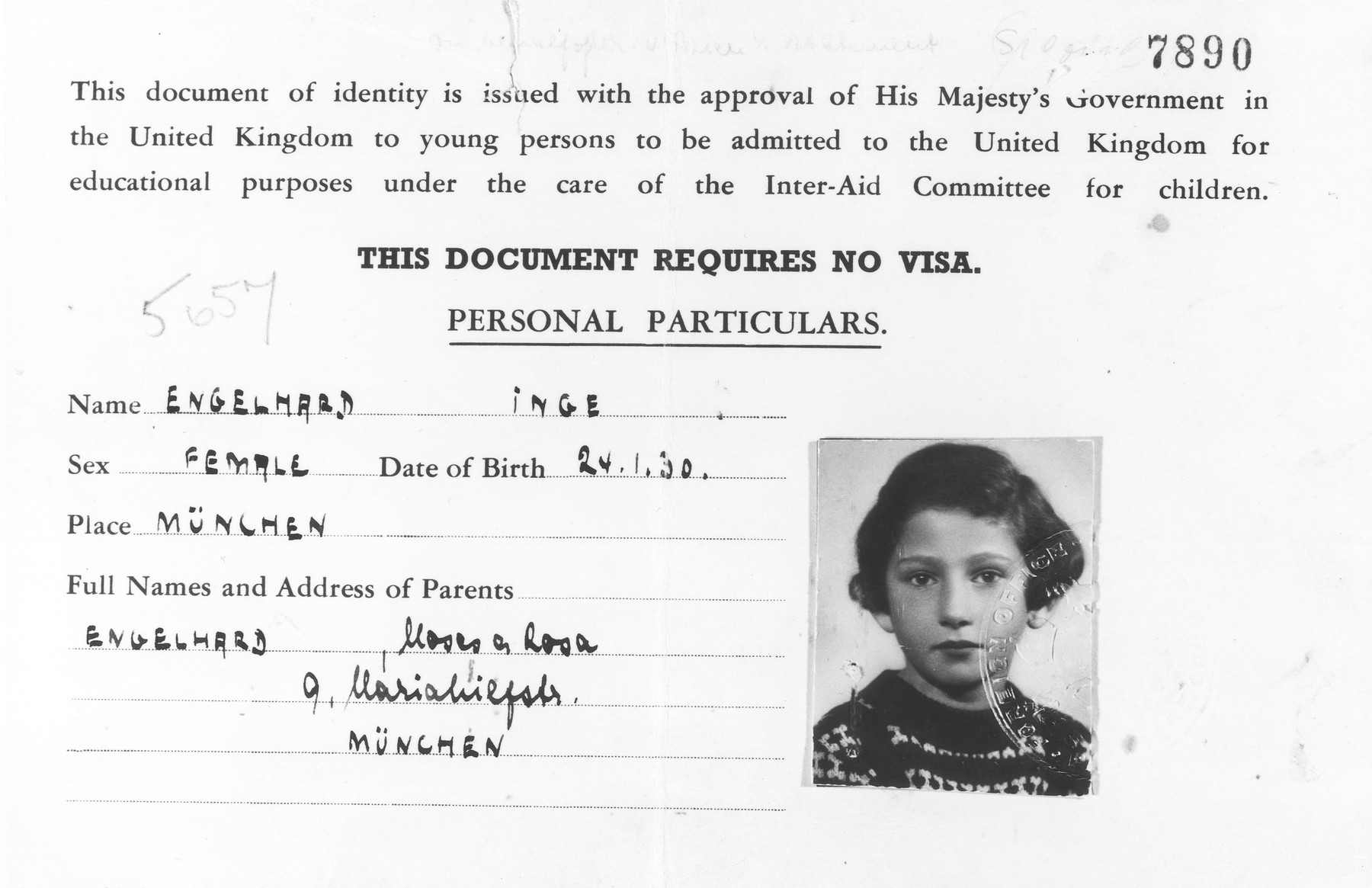 Identification card issued to Inge Engelhard, a German Jewish refugee child, permitting her to be admitted to the United Kingdom under the care of the Inter-Aid Committee for children.
