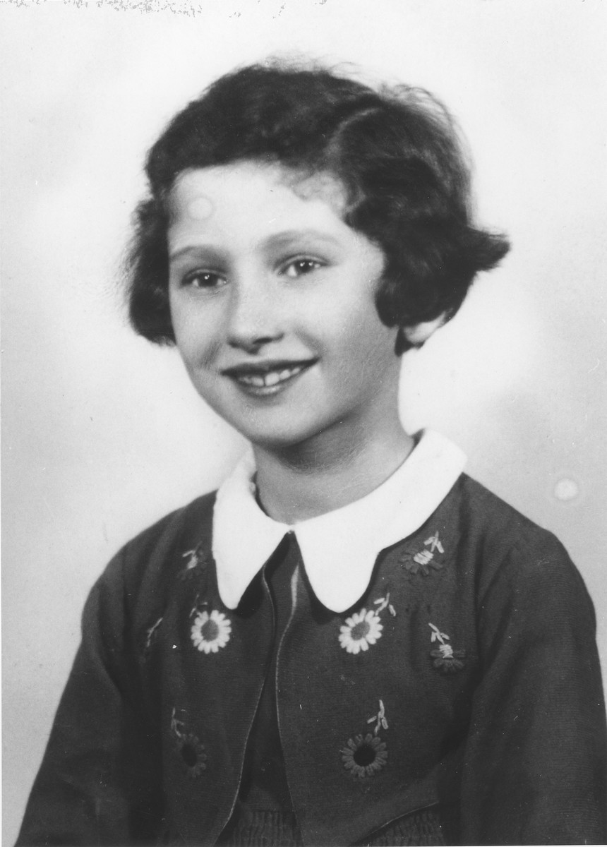 Portrait of eight-year-old Inge Engelhard, one year before her emigration to England on a Kindertransport.