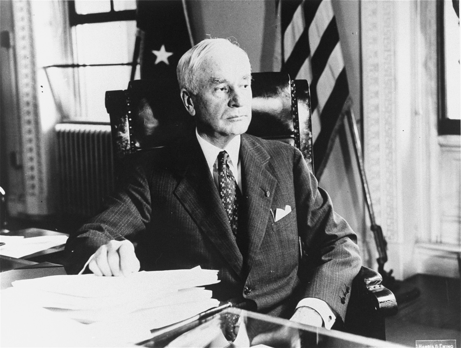 Portrait of Secretary of State Cordell Hull in his office.