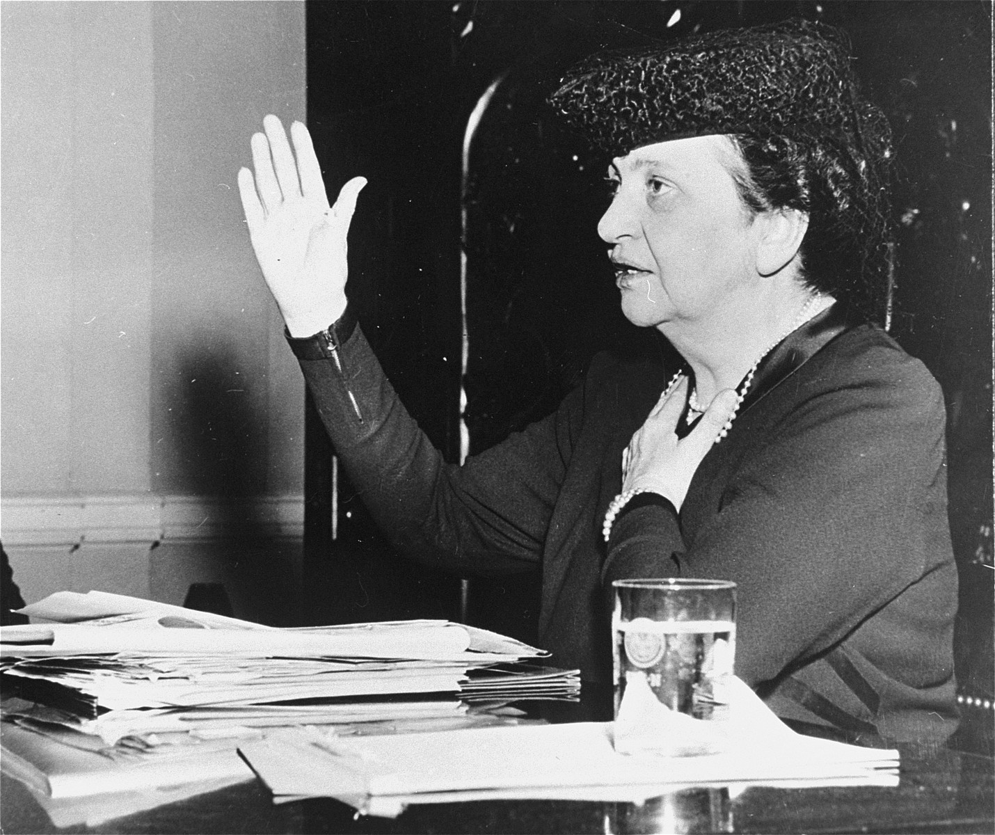 Secretary of Labor Frances Perkins testifies before the House Committee on migrant workers.