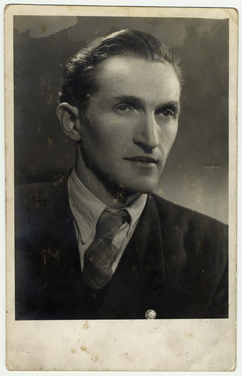Studio portrait of Abraham (Bumek) Gruber, uncle of the donor.  [The date is unclear, and the photo may be postwar.]