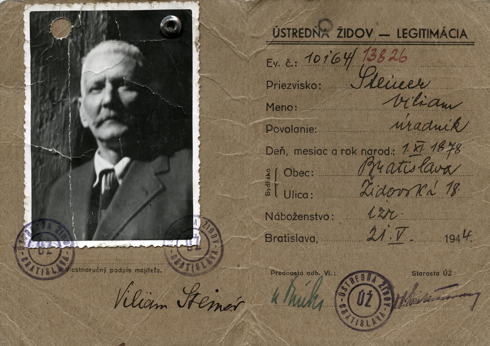 Identification card issued to Wilhelm Zeen Steiner by the Bratislava Jewish Council.