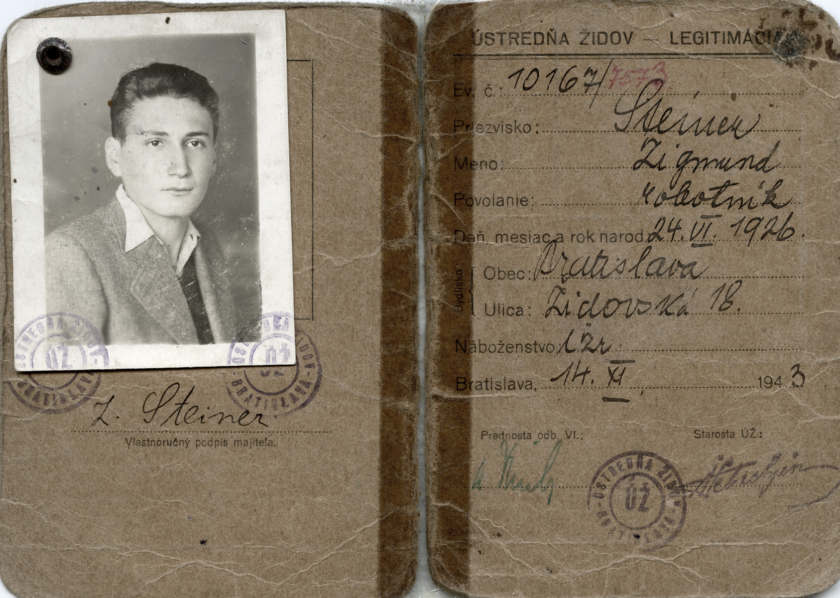 "Identification card issue to David Steiner by the Jewish Council in Bratislava; it says he is a ""worker."""