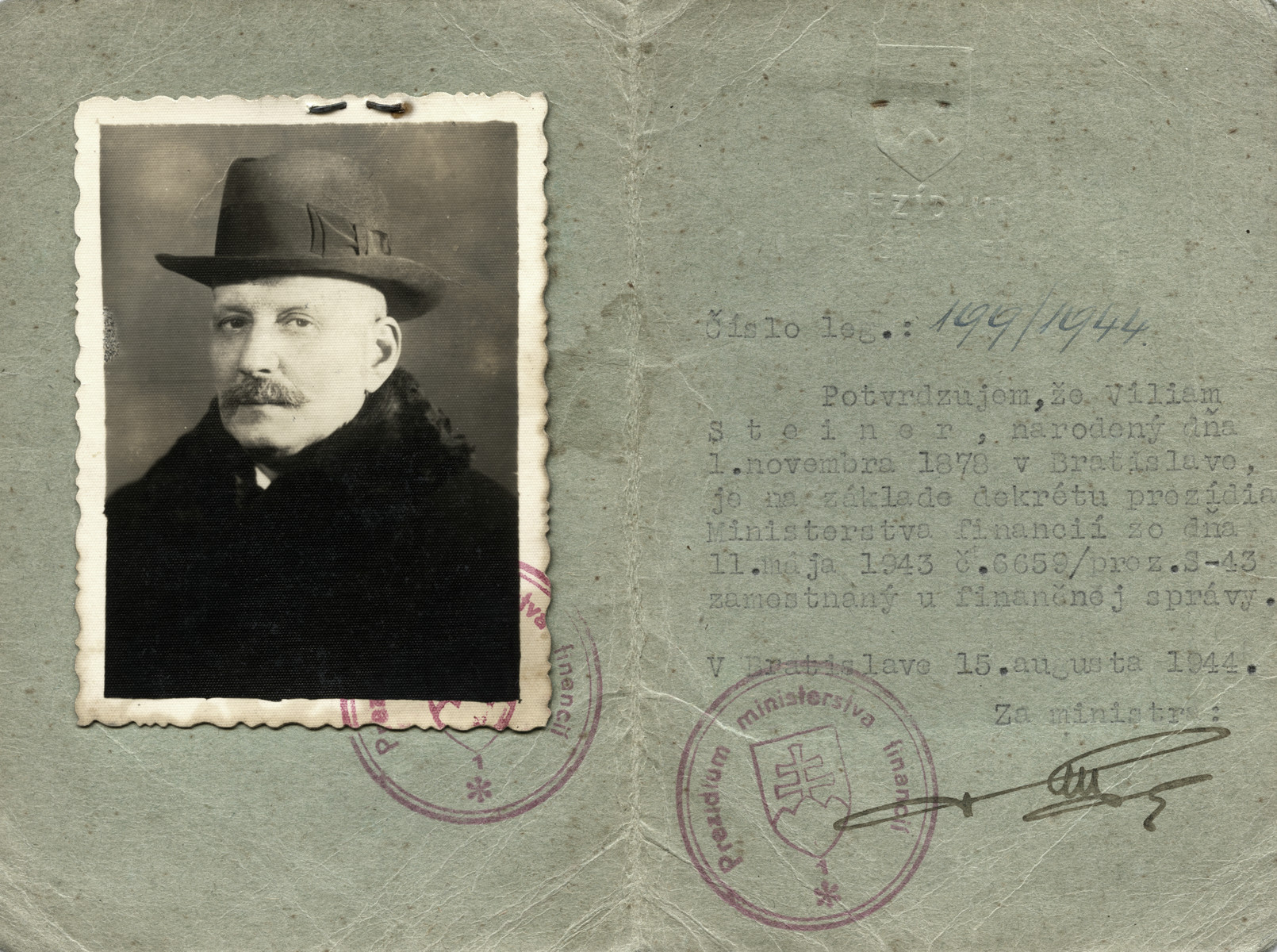 Permit for Wilhelm Zeev Steiner to work as a book cataloger.