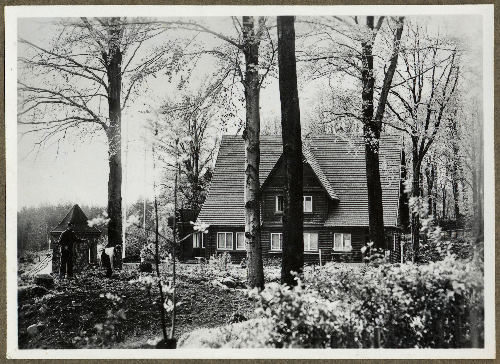 View of the home of Sturmbahnfuehrer Hierthses, second troop commander, in the newly liberated Buchenwald concentration camp.