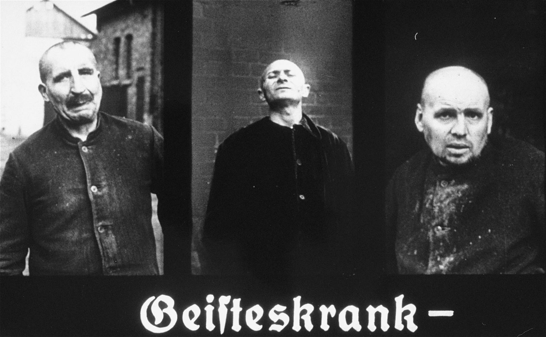 "Propaganda slide featuring three mentally ill patients.  The caption reads, ""Mentally ill."""