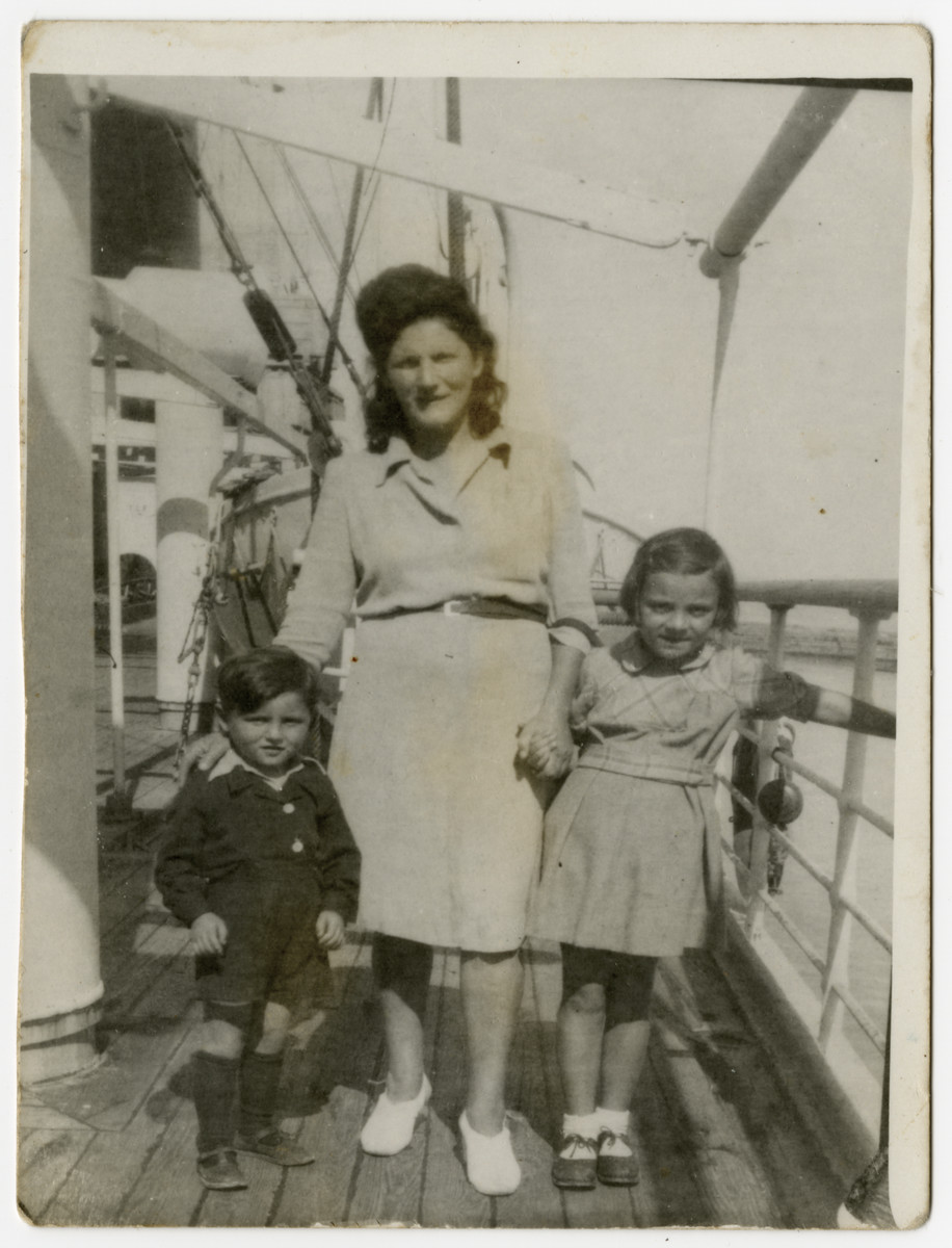 Ita Keller (right), with her aunt, Fanny Ginsburg, and Fanny's son, Adam, on board the S.S. Providence en route to Palestine.