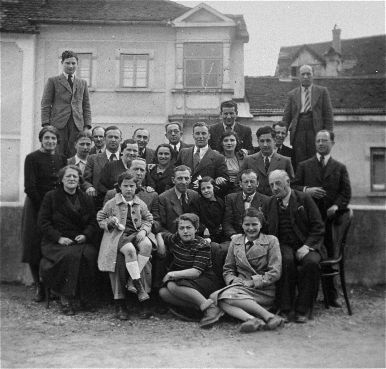 Group portrait of Austrian Jewish refugees on  Klesciceva Street in Samobor, northern Croatia.