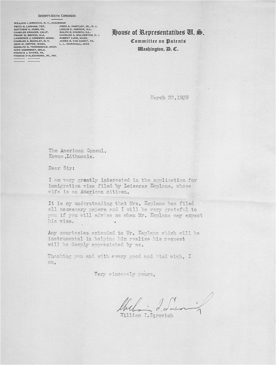 Letter of support for the visa application of Eliezer Kaplan, written by Congressman William I. Sirovich of New York, to the American consul in Kovno, Lithuania. Eliezer Kaplan is seeking to join his wife, Irene (Chaya) Kaplan in New York.