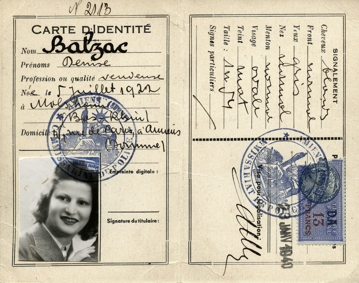 False papers given to Dora Licht under the pseudonym of Denise Balzac.  [The January 1940 date is clearly false as well since Germany only invaded France in May 1940, so at the time this card was supposedly issued, Dora Licht was still using her true name.]