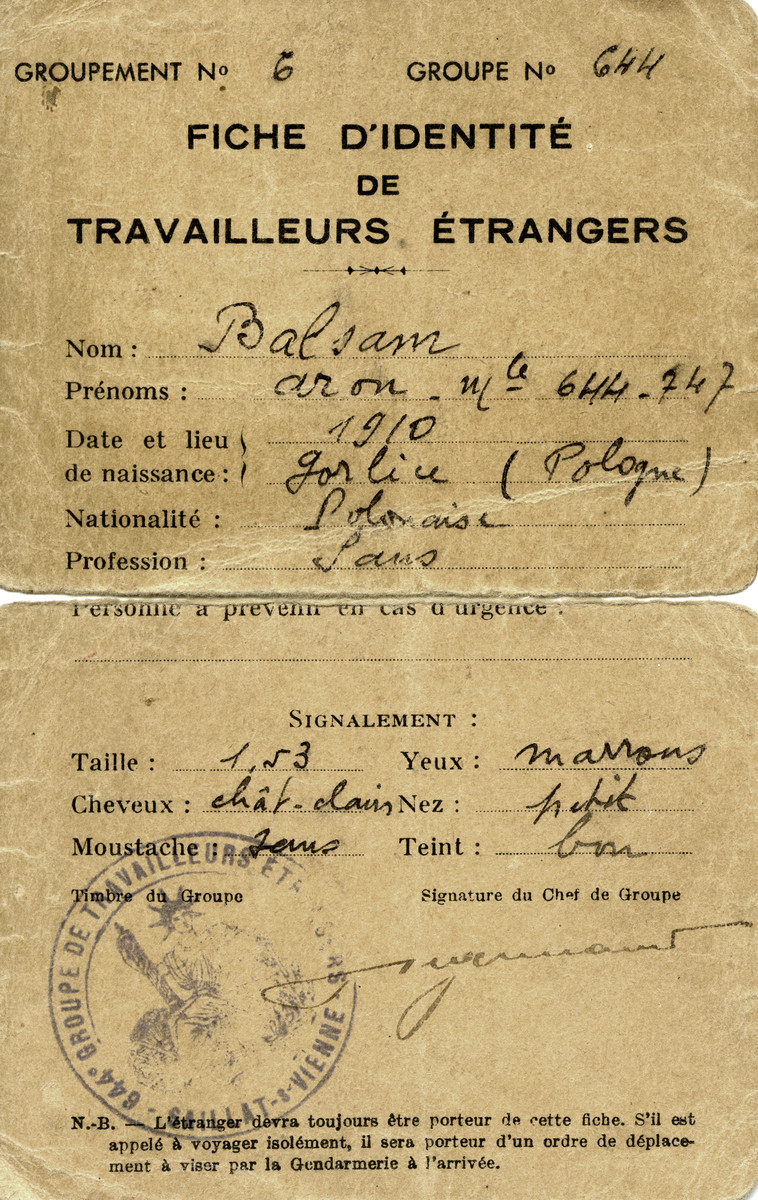 Identification papers issued to Jacques Balsam in the Egletons labor camp, a camp for foreign workers.