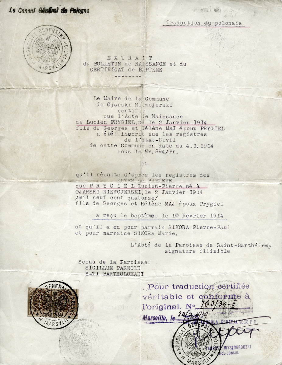 False baptismal certificate issued to Jacques Balsam, under the pseudonym Lucien-Pierre Prygiel, translated from the Polish and signed by the Polish consulate in Marseille.
