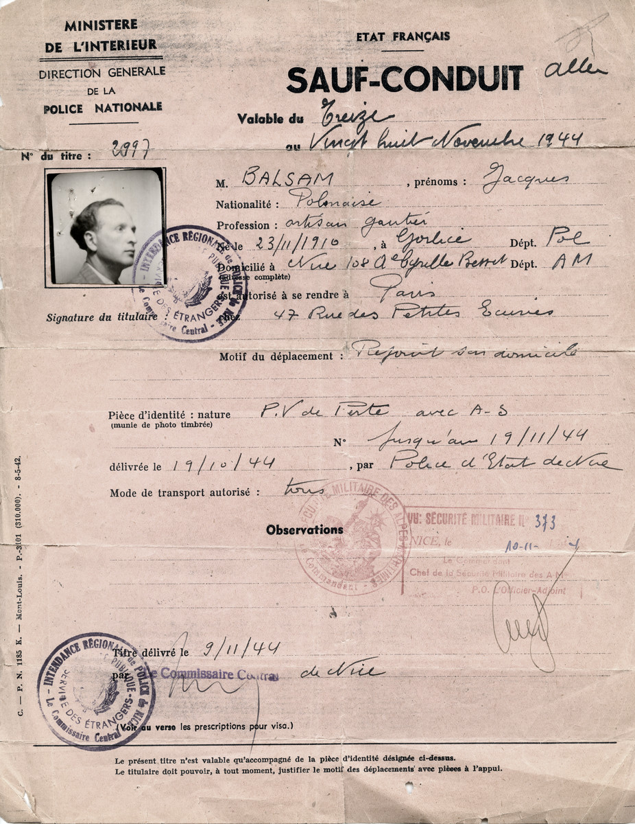 Safe conduct pass issued by the French police to Jacques Balsam after the war.