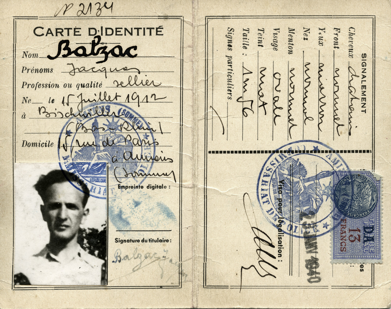 False identification papers given to Jacques Balsam under the pseudonym of Jacques Balzac.  [The January 1940 date is clearly false as well since Germany only invaded France in May 1940, so at the time this card was supposedly issued, Aharon Yaakov Balsam was still using his true name.]