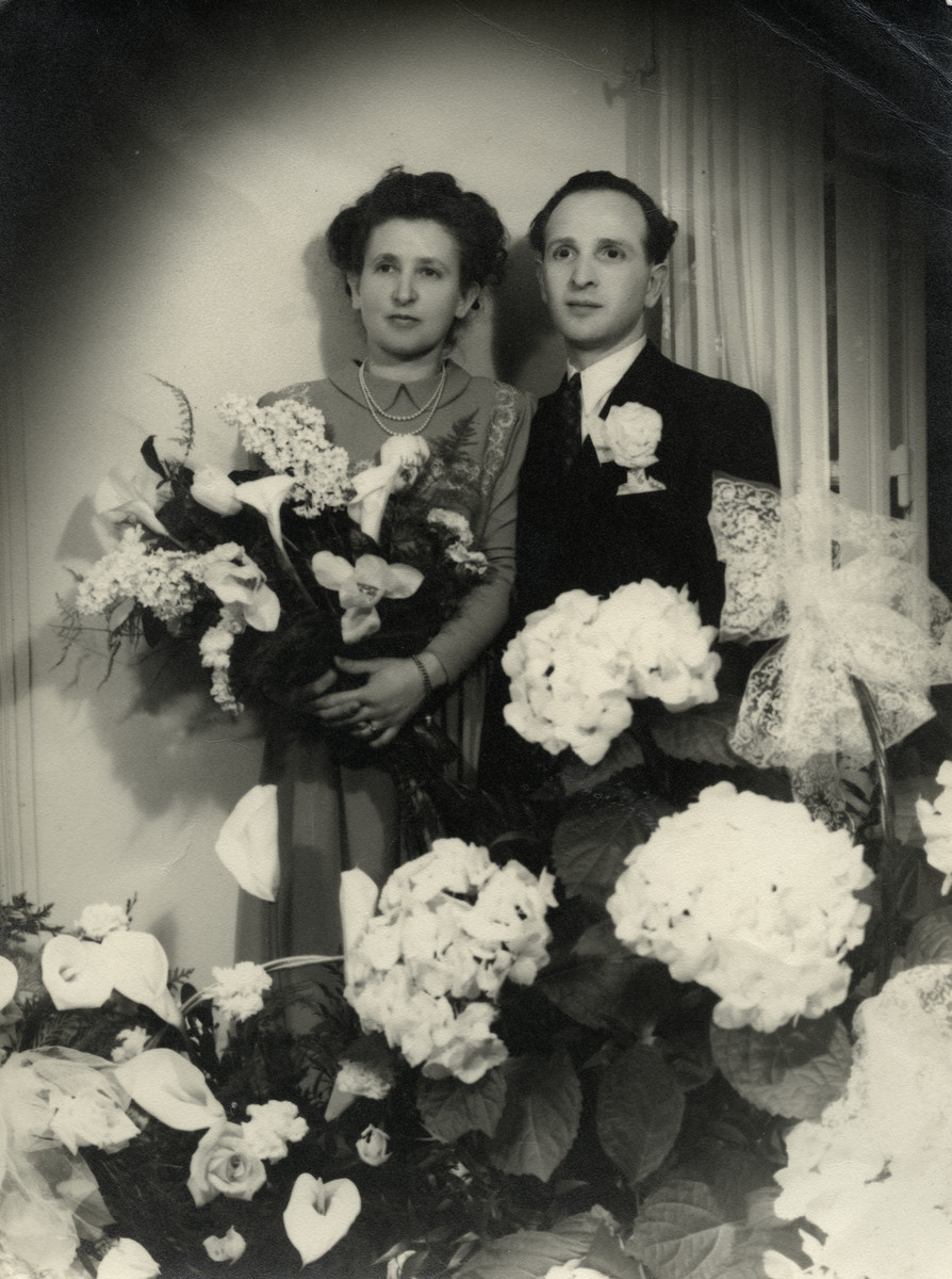 Wedding portrait of Aharon Balsam and Miriam Einhorn.