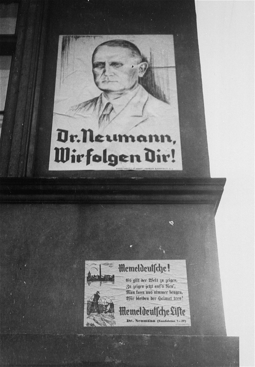 A Nazi election poster for Dr. Ernst Neumann prior to the annexation of Memel by Germany.