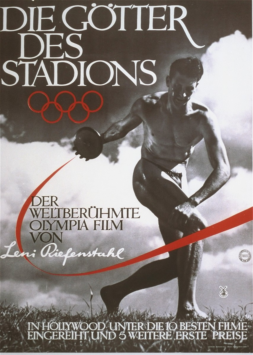 "The poster for Leni Riefenstahl's film, ""Die Gotter des Stadions"" (""The Gods of the Stadium""), about the 11th Summer Olympic Games. This film and her other work ""Olympic Youth"" were combined to make one film, ""Olympia."""