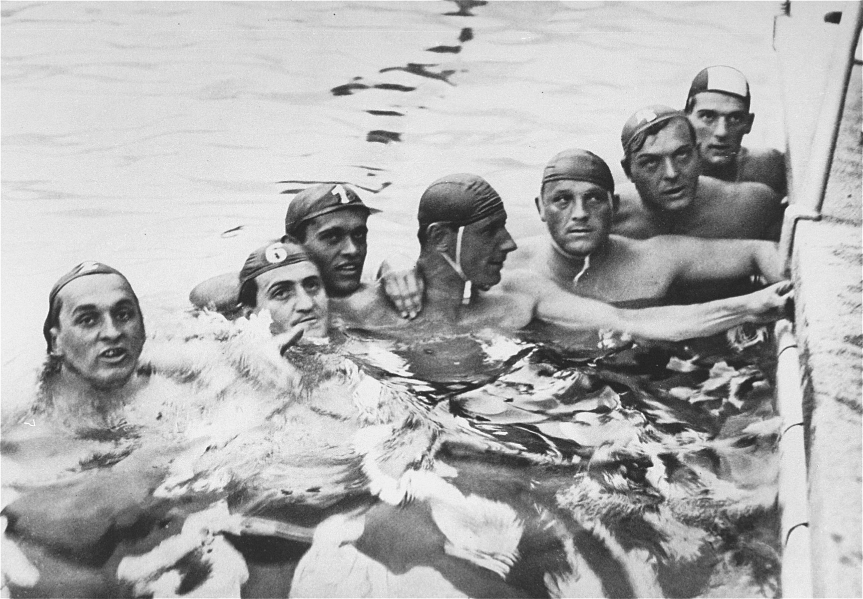 The Hungarian water polo team in the pool at the 11th Summer Olympic Games.