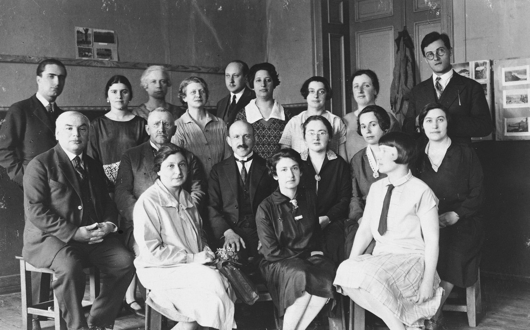 Teachers in the Ezra Schule in Riga, Latvia.  Standing on the far left is Andrei Wespremu, Esther Lurie's first mentor.