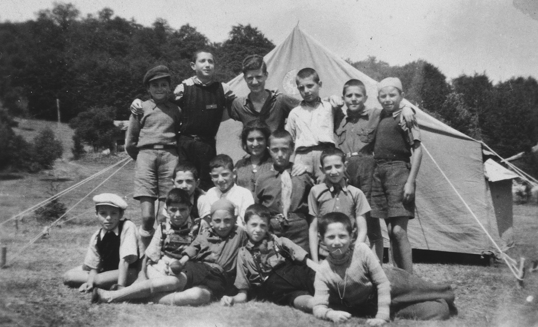 Bulgarian-Jewish children attend a summer camp sponsored by the Zionist movement, Hehalutz, in Plovdiv.