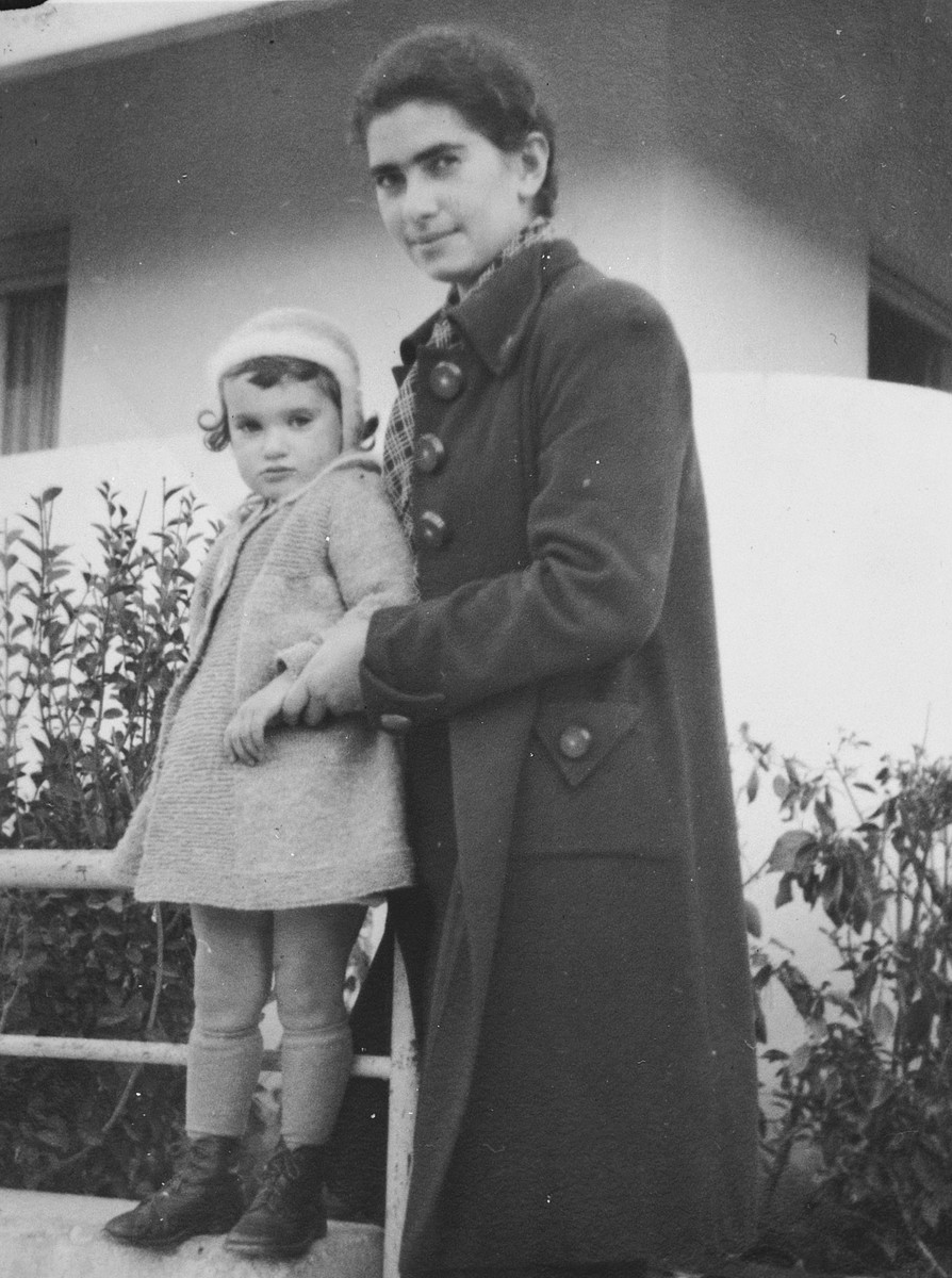 Portrait of artist Esther Lurie and her niece, Galia (daughter of Esther's sister Shifra), taken in front of Shifra's and Galia's home in Tel Aviv.