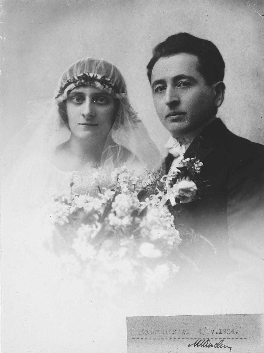 Wedding portrait of Wanda and Michael Kimelman.