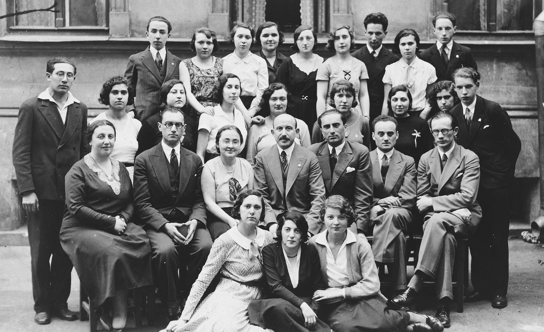 Students and teachers in the Ezra Schule in Riga, Latvia.  Esther Lurie is pictured in the third row, second from the left.