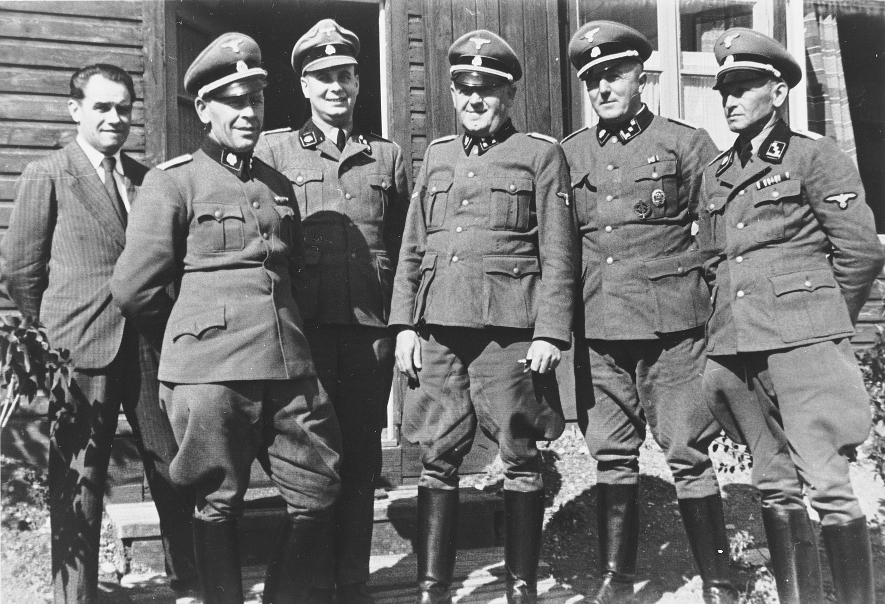 Group Portrait Of Ss Officers In Front Of A Barrack In The