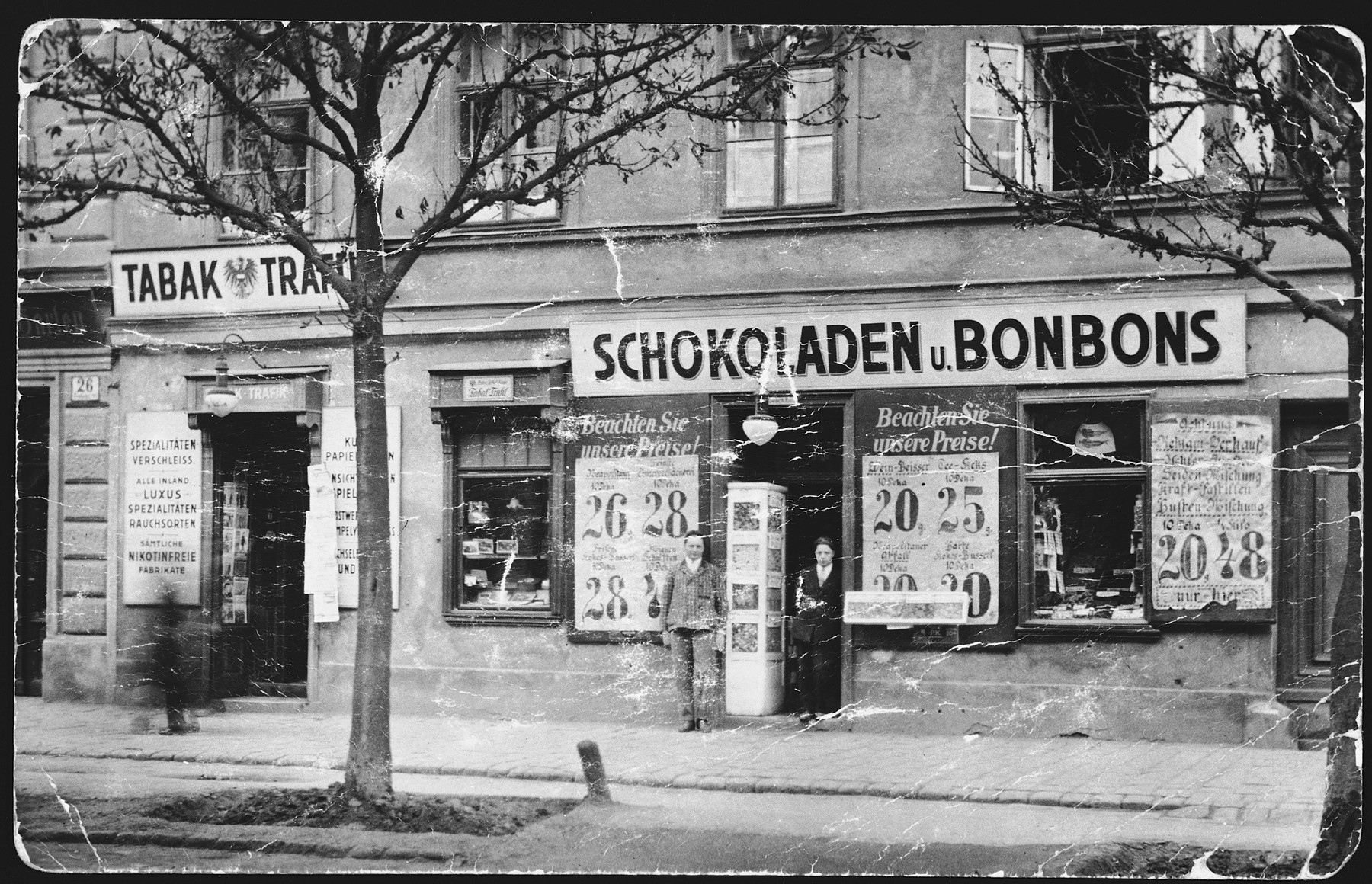 Exterior view of a Jewish-owned candy store in Vienna.  The store was owned by Salo and Leo Rosner, the donor's uncles.