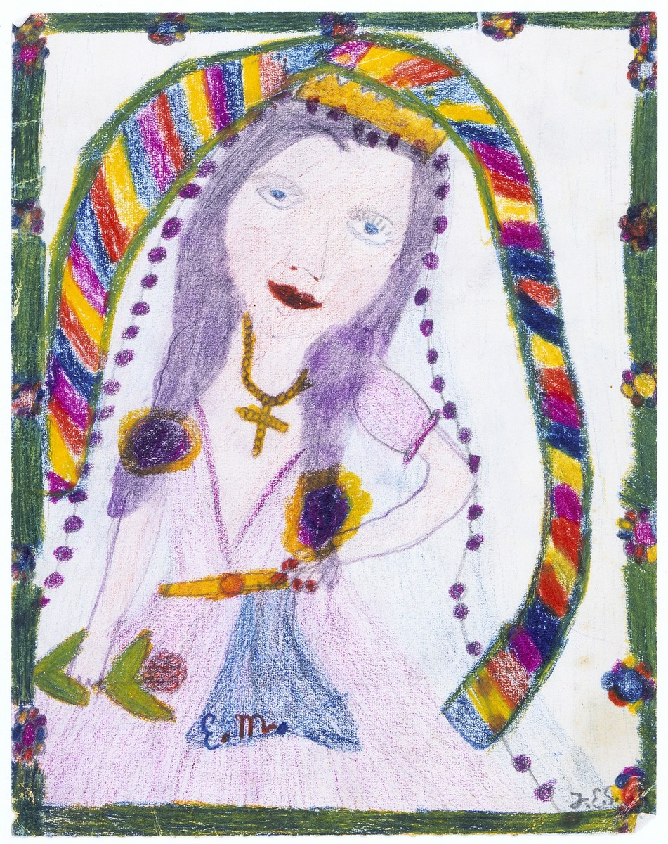 Child's drawing of a girl with long hair wearing a cross.  A multi-striped ribbon surrounds her.