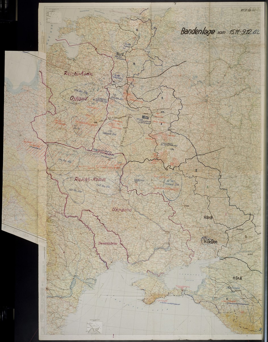 Bandenlage.  Contains references to the Reichskommissariat Ostland, Reichskommissariat Ukraine, and Transnistria, and estimates of numbers of people shot including Bandenhelfer, 1942 Nov. 15-1942 Dec. 9.
