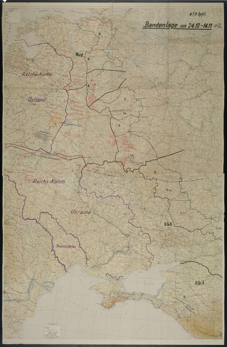 Bandenlage.  Contains references to the Reichskommissariat Ostland, Reichskommissariat Ukraine, and Transnistria, 1942 Oct. 24-1942 Nov. 11.