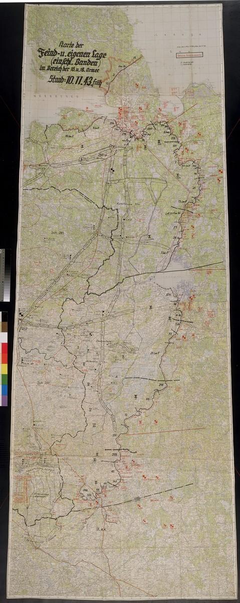 Karte der Feind-u. eigenen Lage (einschl. Banden) im Bereich der 16.u.18. Armee. Stand : 10.11.43.  Situation map for the 16th and 18th Armies south of Leningrad, 1943 Nov. 10.