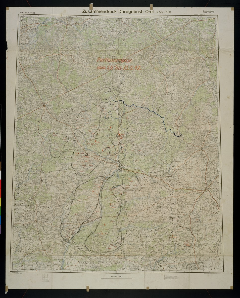 Partisanenlage.  Shows the areas of Kirow and Ludinowo, 1942 May 1-1942 June 13.