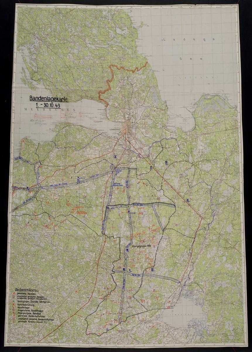 Bandenlagekarte 1.-30.10.43.  1943 Oct.