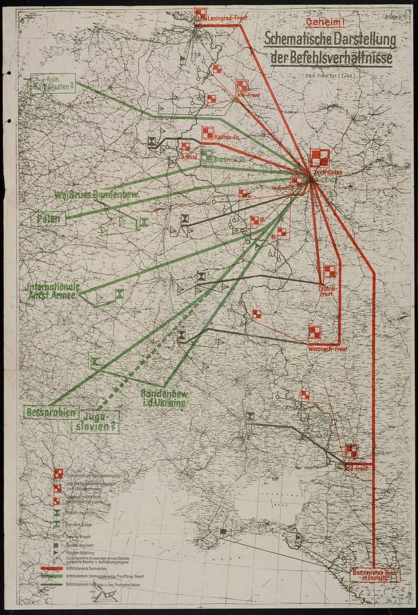 Schematische Darstellung der Befehlsverhaeltnisse.  Contains information about the Soviet command structure, n.d.