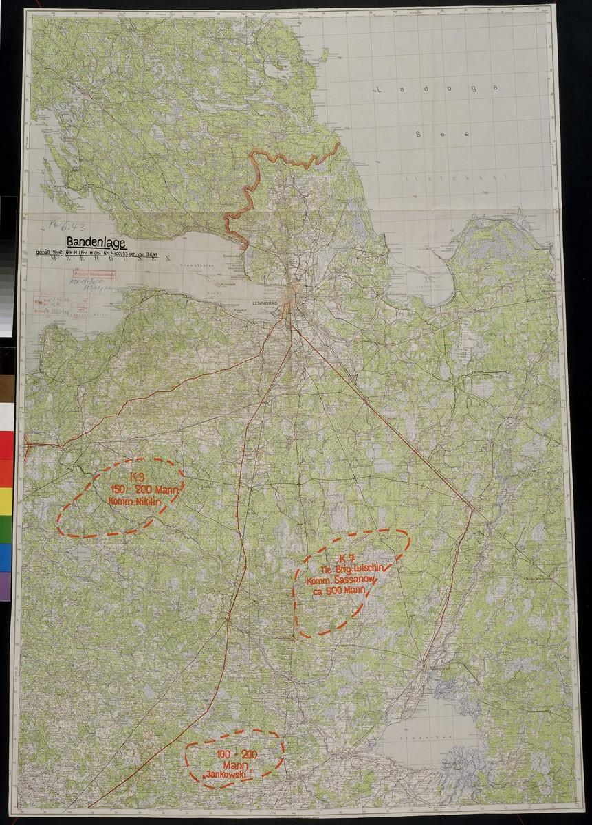 Bandenlage.  Focuses on areas south of Leningrad, 1943 June 13.