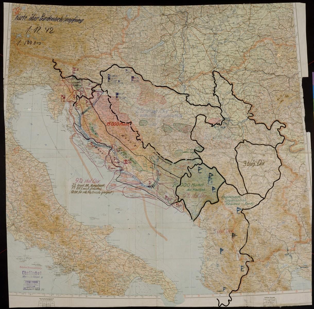 Karte uber Bandenbekampfung.  Concerns partisan activity in Yugoslavia, 1942 Dec. 1.