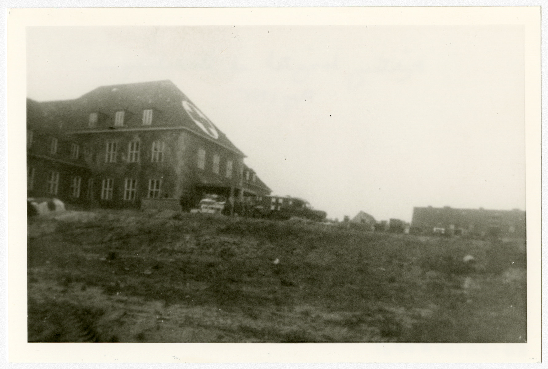 Exterior view of the military hospital at Gardelegen, Germany.