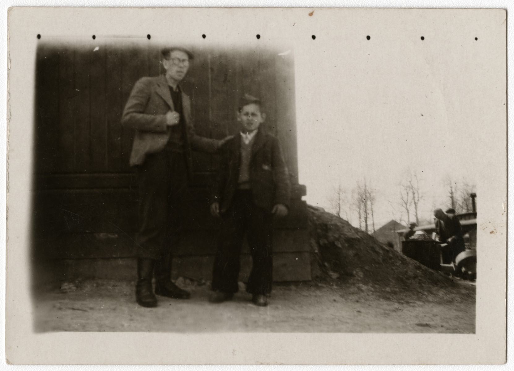 "Two Jewish survivors in the Buchenwald concentration camp, shortly after liberation.  The original inscription on the back of the photograph reads, ""Two Jewish boys, Buchenwald concentration camp, Germany.  Smaller - 12.  Taller - 18.  15 Apr '45."""