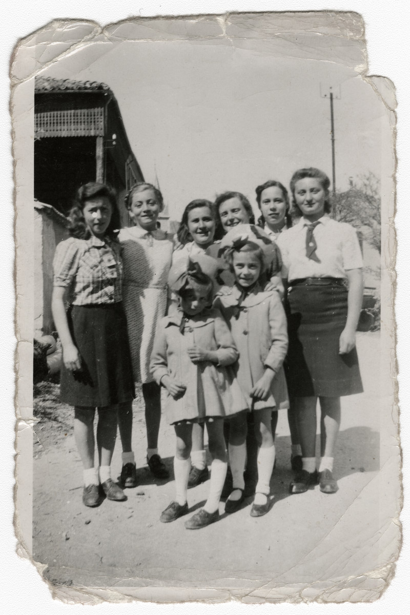 Leah Wajsfelner poses with other children while in hiding in the French Alps.