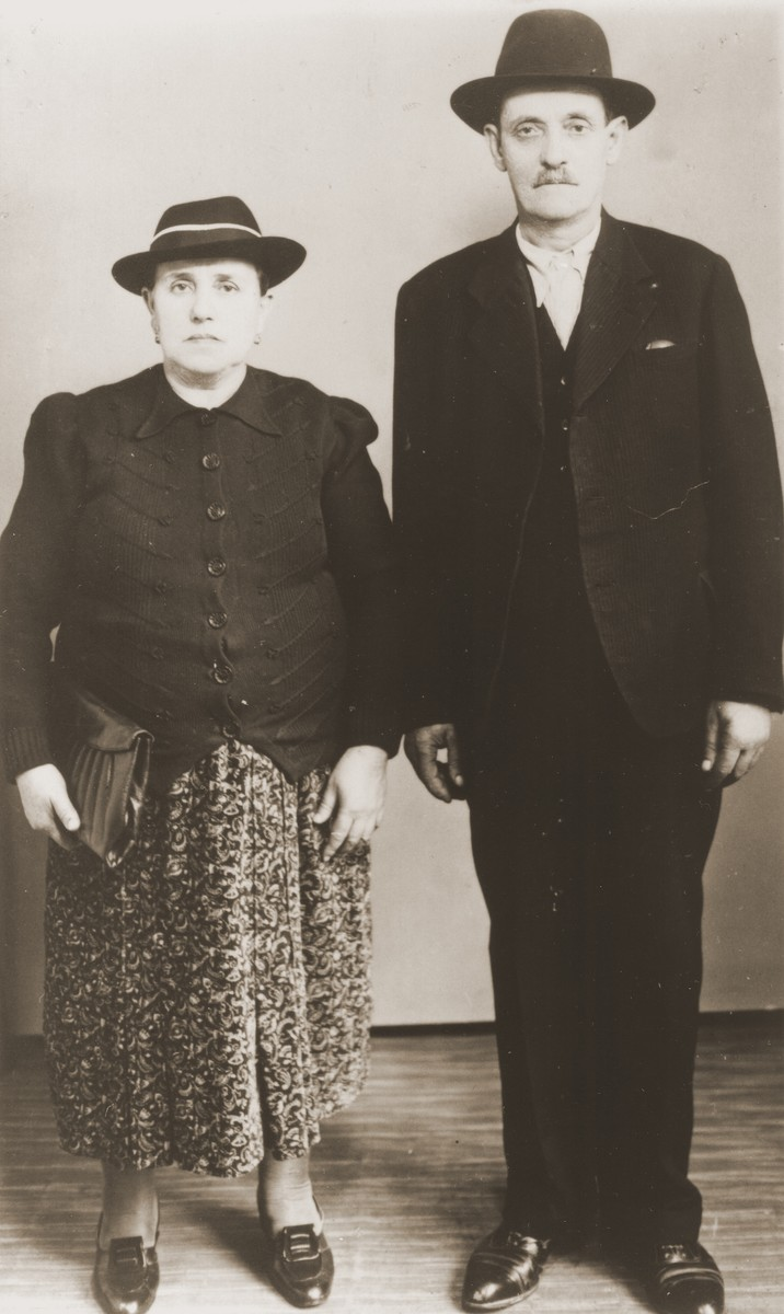 Portrait of a Jewish couple from Bitola, Macedonia in Zagreb on the eve of World War II.  Pictured are Mushon (b. October 13, 1870) and Rebeka (Albocher) Kamchi (b. April 14, 1879). Both perished.
