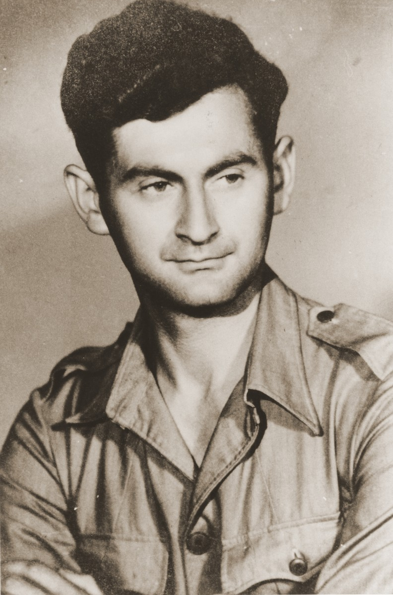 Portrait of Palestinian Jewish parachutist Yoel Palgi.   Palgi was dropped into Yugoslavia and from there infiltrated into Hungary.  He escaped capture and returned to Palestine.