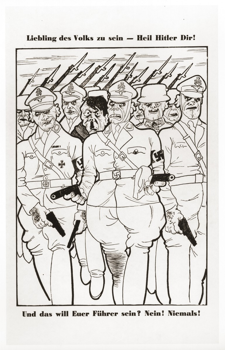 """An anti-Nazi cartoon showing Hitler and Paul von Hindenburg surrounded by gun-toting uniformed Nazis.  The caption reads, """"He wants to be the darling of the people--Heil Hitler to you! And that will be your Führer? No! Never!"""""""