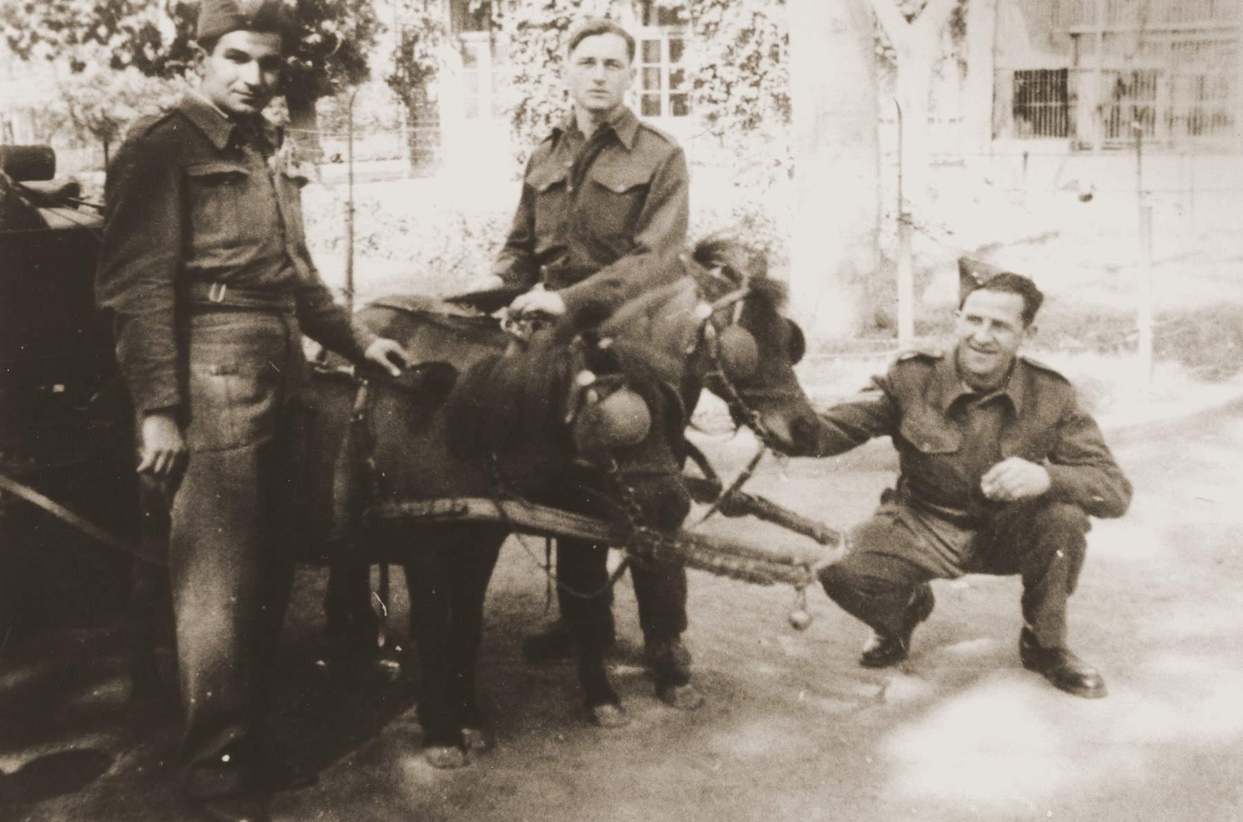 Palestinian Jewish parachutists pose next to a cart drawn by a donkey.  Pictured are Shaika Dan, Dov (Berger) Harari and Uriel Kanner.