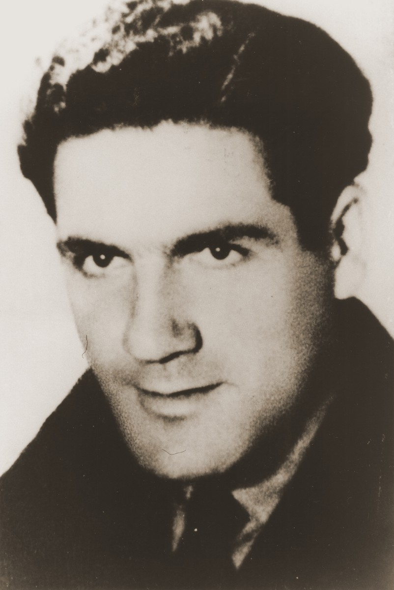 Portrait of Palestinian Jewish parachutist Zvi Ben Yaakov.    Ben Yaakov was captured and killed after he was dropped into Slovakia.